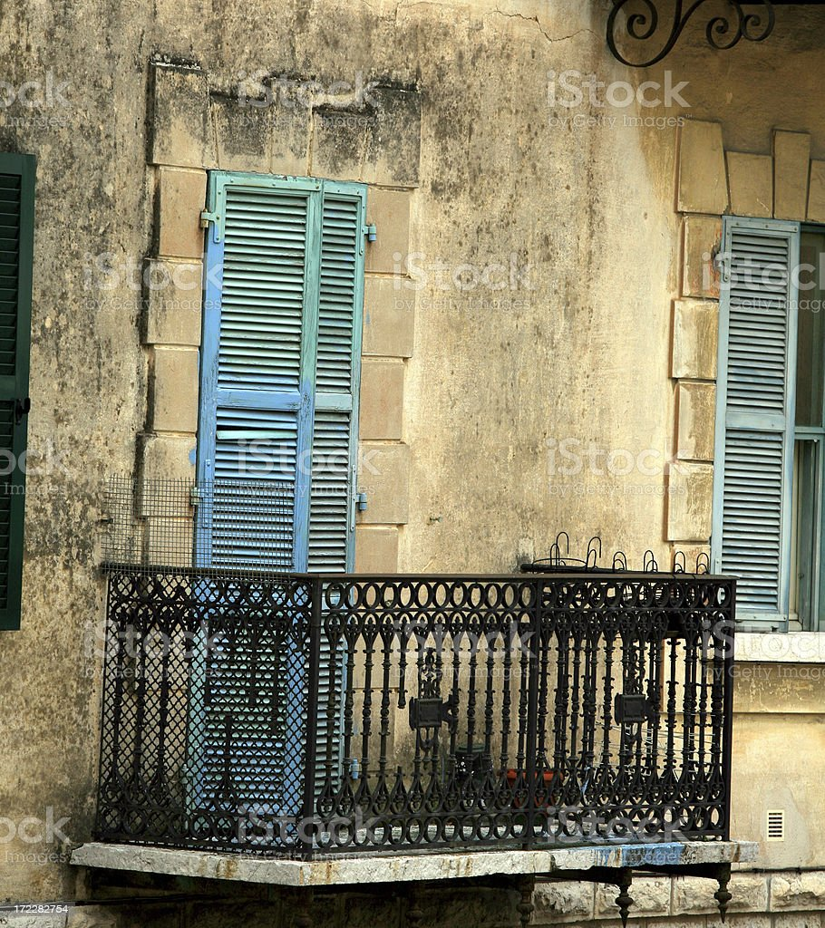 Blue Shutters and Balcony in Provence, France royalty-free stock photo