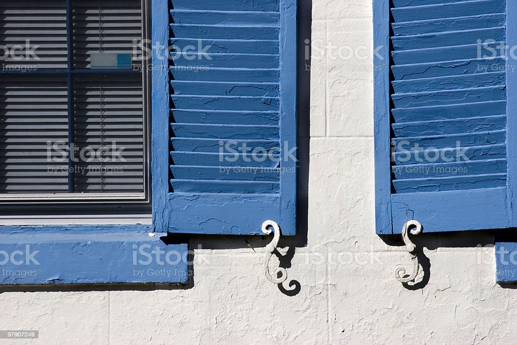 Blue Shutters on Capitol Hill House royalty-free stock photo