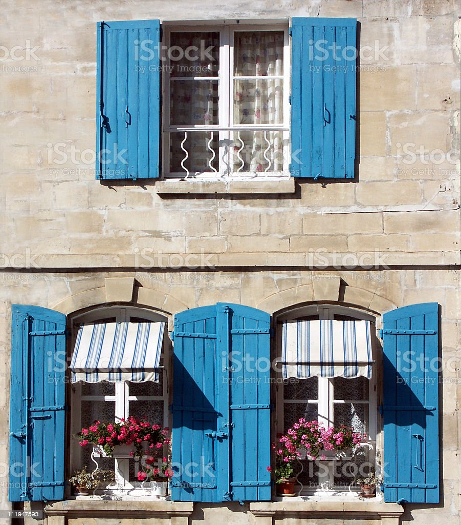 Blue shutters royalty-free stock photo