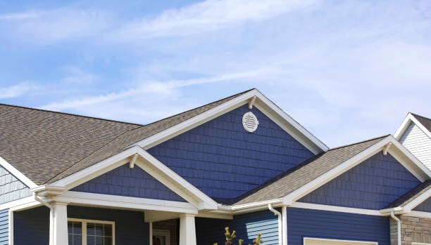 Blue sided contemporary home showing soffit, gutters, roofing, brickwork, and blue sky in the background. stock photo