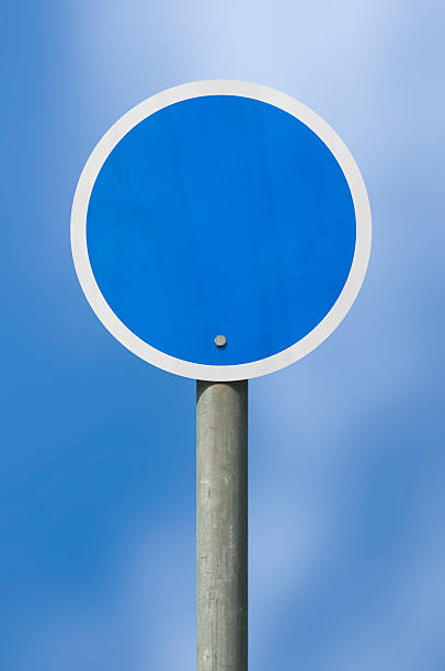 Blue sign on a stick stock photo