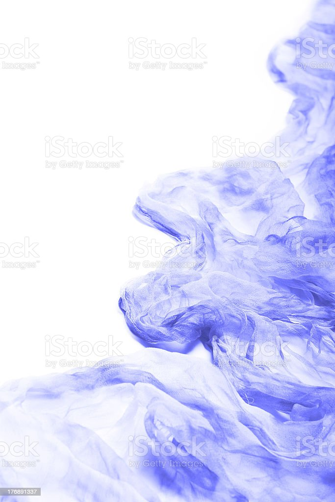 Blue silk chiffon. stock photo