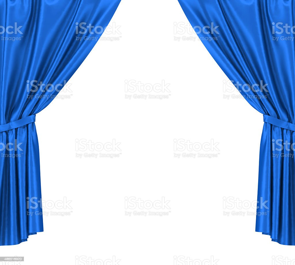 Blue silk curtains with garter isolated on white background stock photo