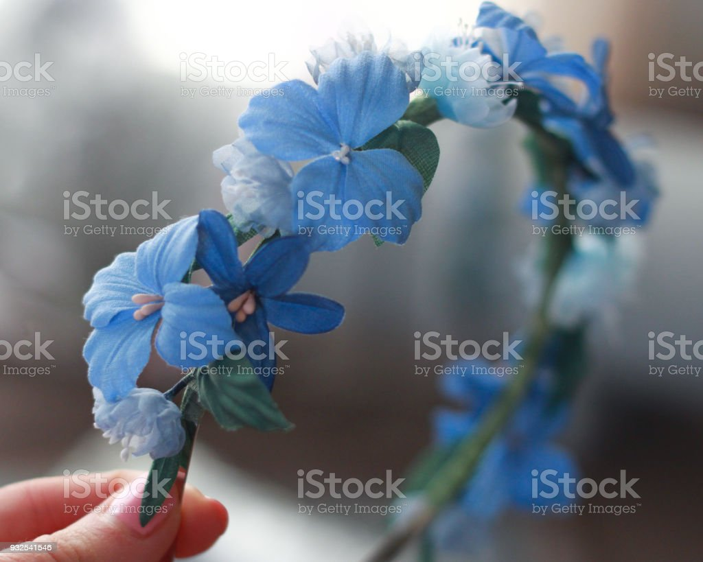 Blue Silk Flower Wedding Bryde Headband Wreath Bridesmaids Stock
