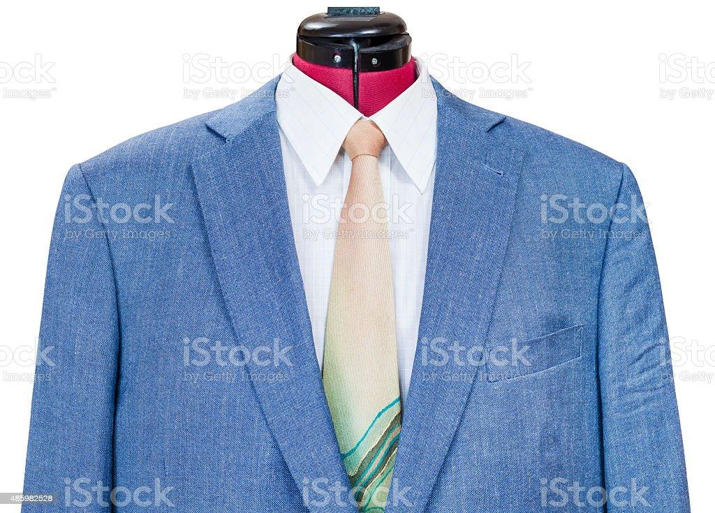 Giacca In Seta Blu Con Camicia E Cravatta Primo Piano
