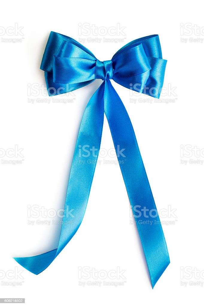 Blue silk ribbon stock photo