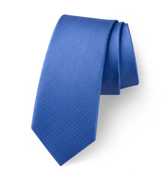 Blue silk tie. Photo with clipping path. stock photo