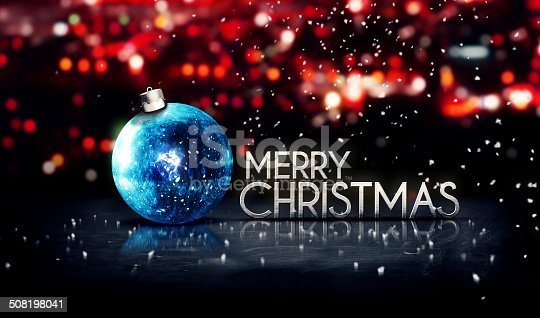 505891566 istock photo Blue Silver Merry Christmas Bokeh Beautiful 3D Red Background 508198041