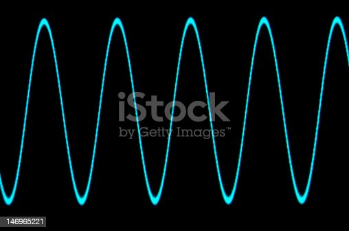Photograph of a blue sine wave on a black background on a grapgical oscilloscope display with no grid.