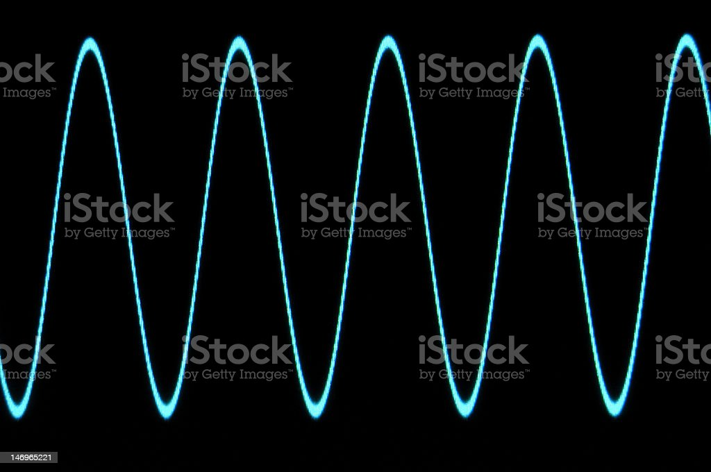 Blue sine wave with no grid stock photo