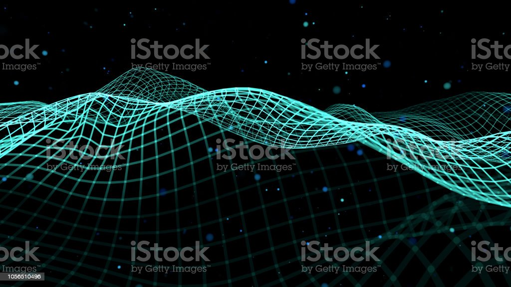 Blue Sine Waves in motion connection data stock photo