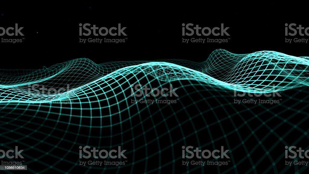 Blue Sine Waves In Motion Connection Data Stock Photo & More