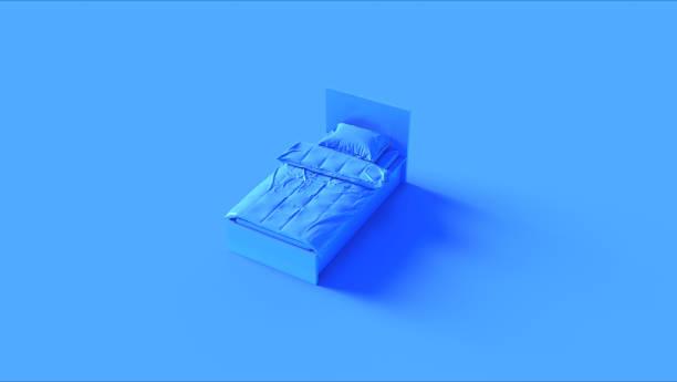 blauwe eenpersoonsbed - sleeping illustration stockfoto's en -beelden