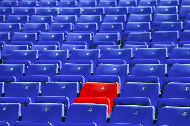 blue sit rows stock photo
