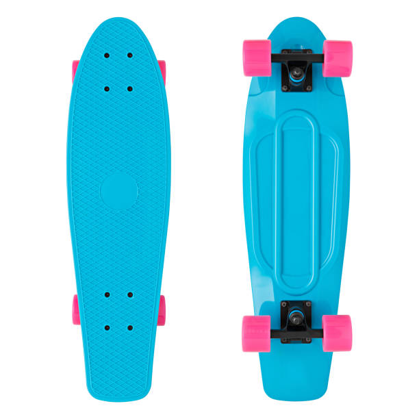 blue skateboard  isolated white background - skateboard stock pictures, royalty-free photos & images