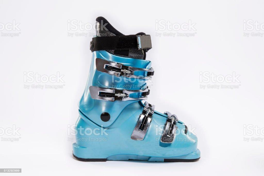 Blue Ski boot stock photo