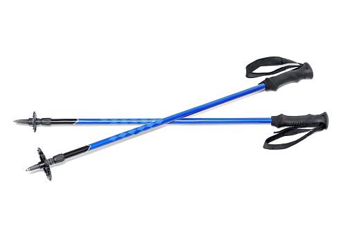 Blue Ski Pole stick isolated on white