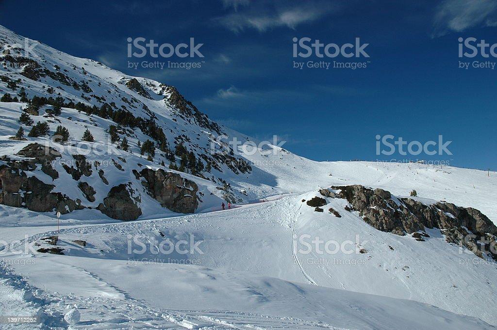 Blue Ski Run royalty-free stock photo