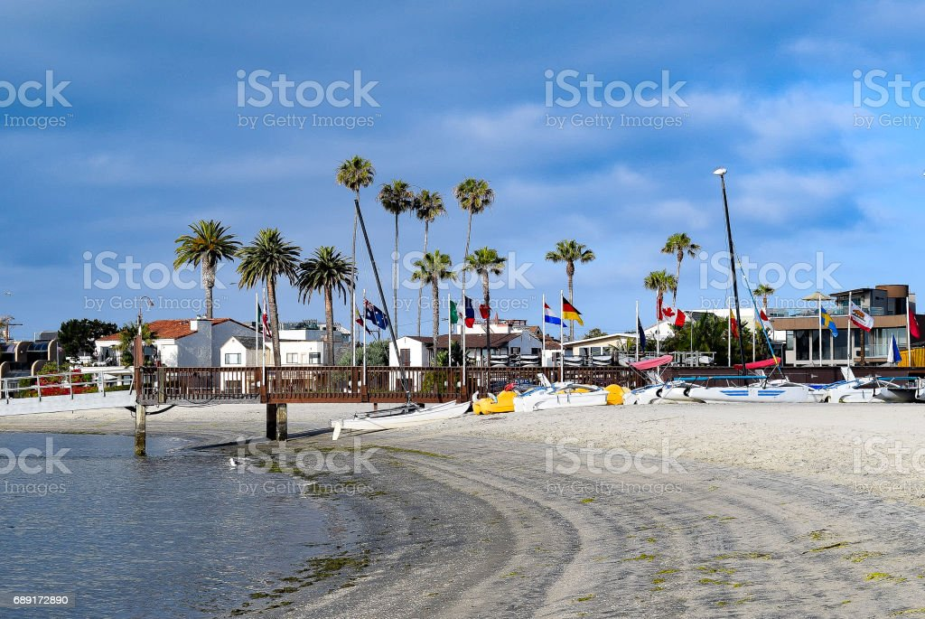 Blue Skies and Clouds Over a Boat Dock at Mission Bay in San Diego. stock photo