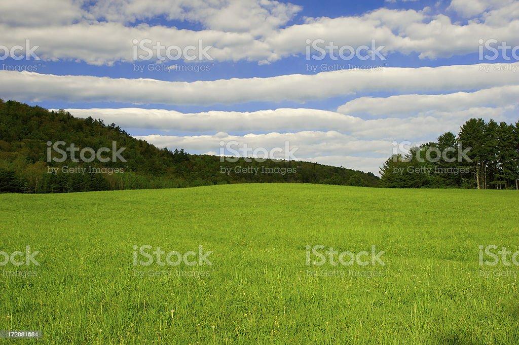 Blue skies and mountain scene stock photo