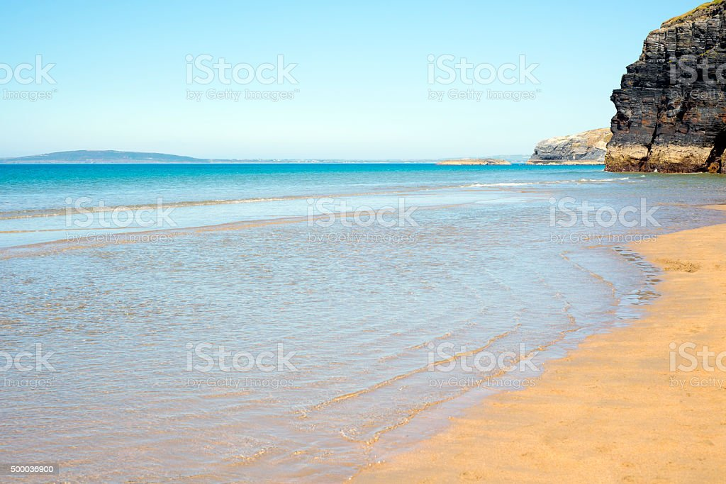 blue skies and sea at ballybunion stock photo