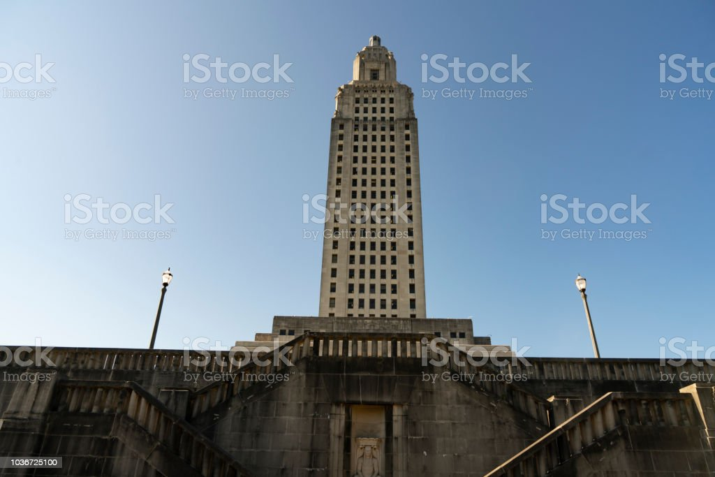 Blue Skies at the State Capital Building Baton Rouge Louisiana stock photo