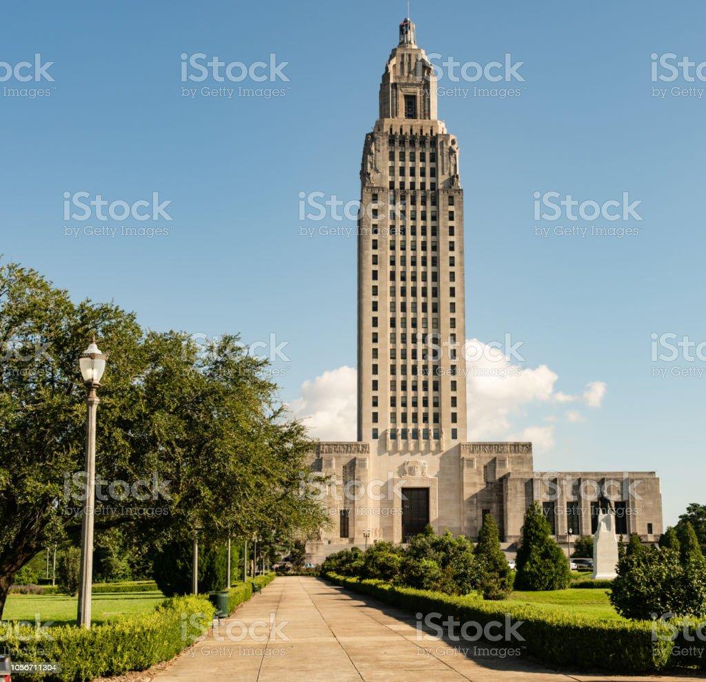 Blue Skies on the Sidewalk Leading to State Capital Building Baton Rouge Louisiana stock photo