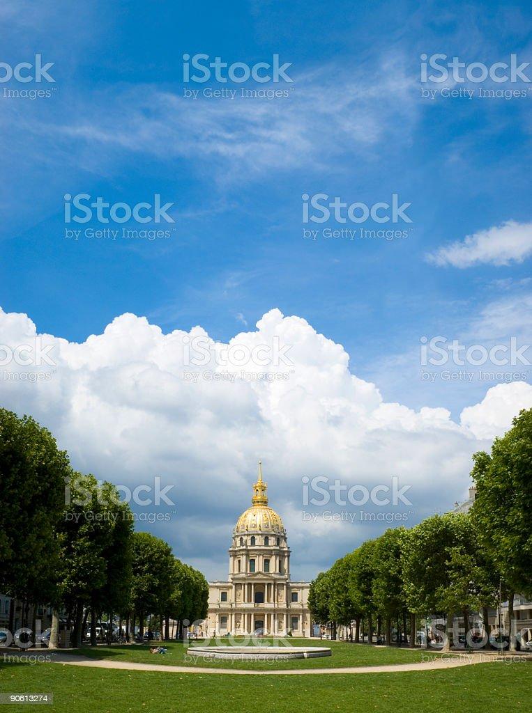 Blue skies over golden dome, Paris stock photo