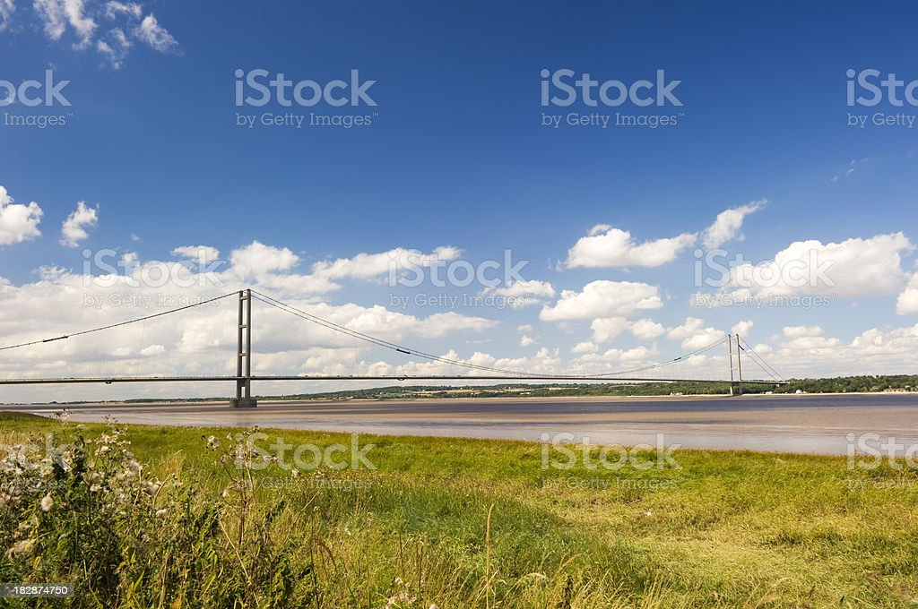 Blue skies over Humber Bridge royalty-free stock photo
