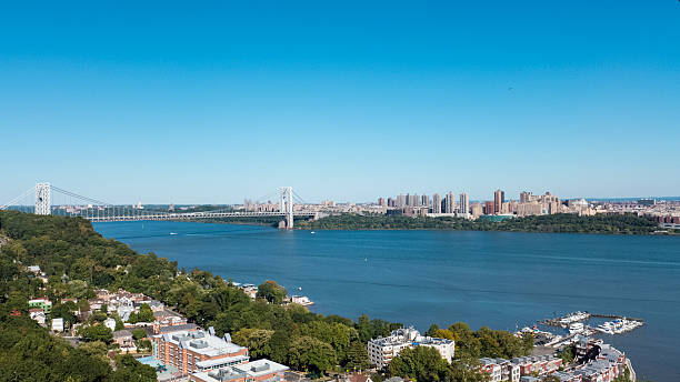 Blue skies over Manhattan and Northern NJ stock photo