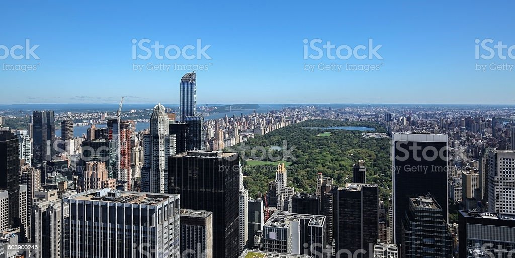 Blue skies over the New York City skyline stock photo