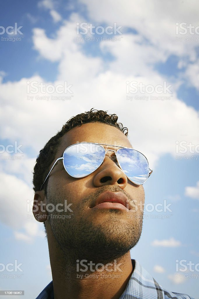 Blue skies stock photo