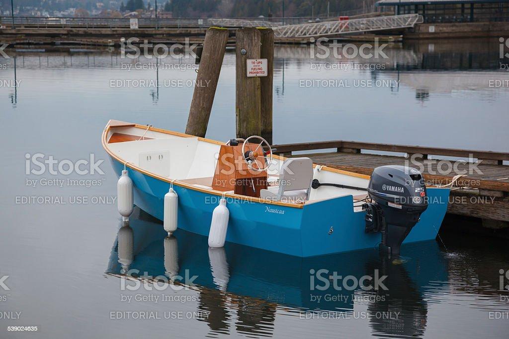 Blue skiff stock photo