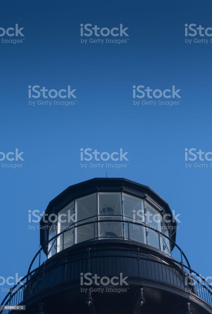 Blue Sky Above The Yaquina Head Lighthouse stock photo