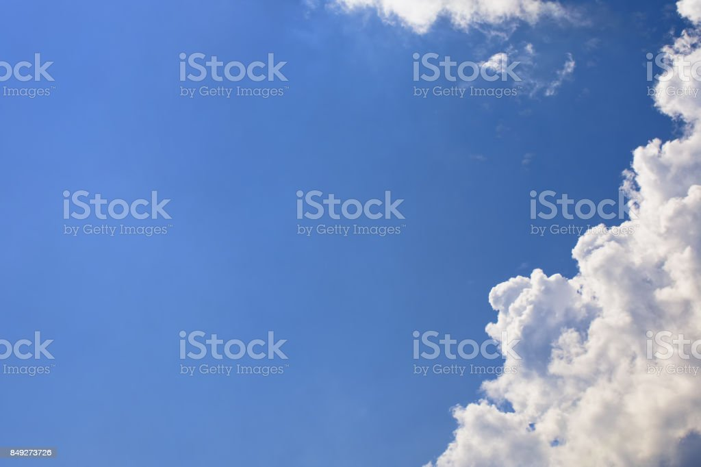 Blue sky adn clouds. Backdrop for banner, card, web, advertisment stock photo