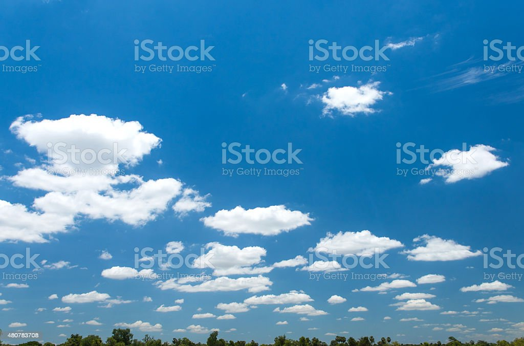 Blue sky and cloud over land stock photo