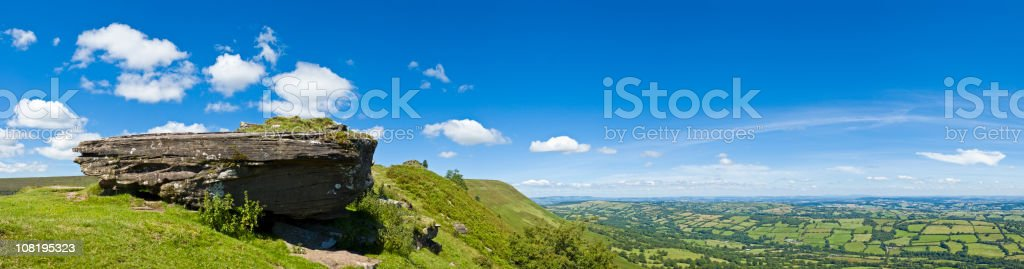 Blue Sky and Green Mountain Summit stock photo