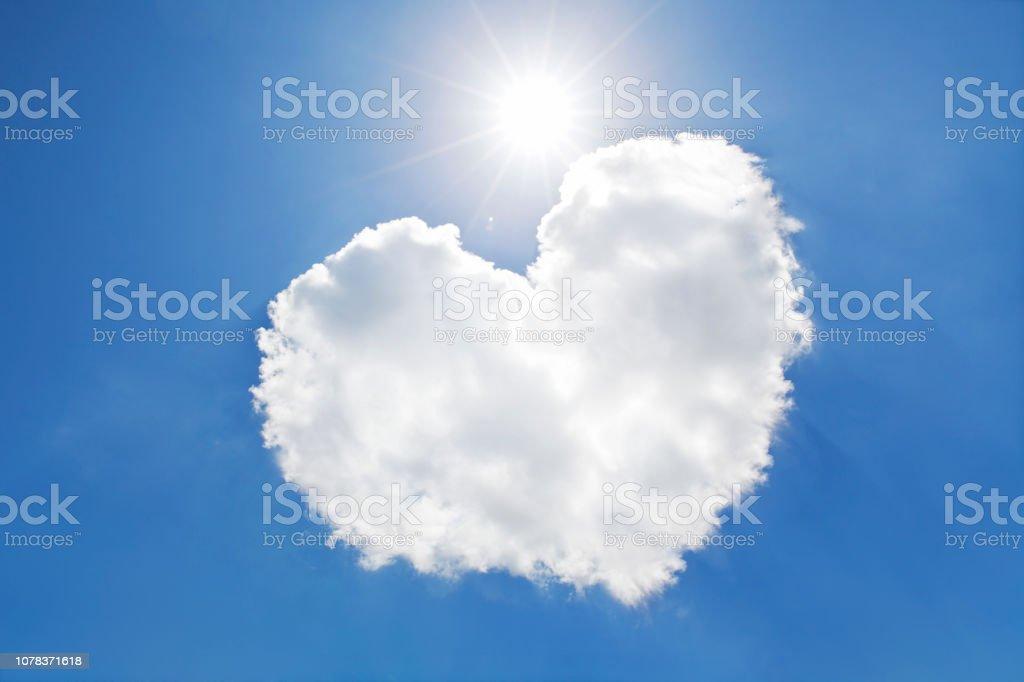 Blue sky and heart shaped cloud