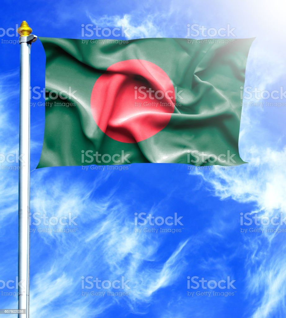 Blue sky and mast with hanged waving flag of Bangladesh stock photo
