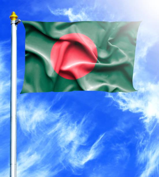 Blue sky and mast with hanged waving flag of Bangladesh stock photo