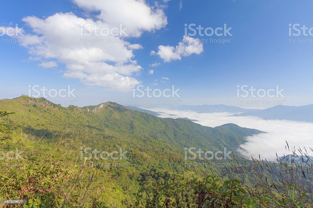 blue sky and mountain with doiphatang northeast chiangrai thaila royalty-free stock photo
