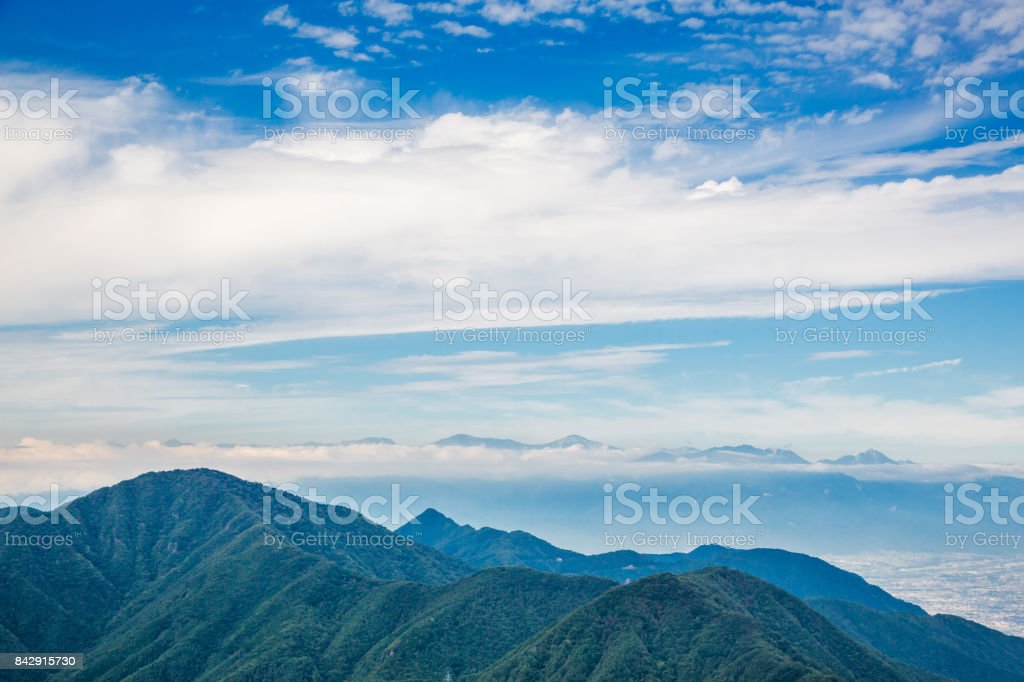 Blue sky and mountains stock photo