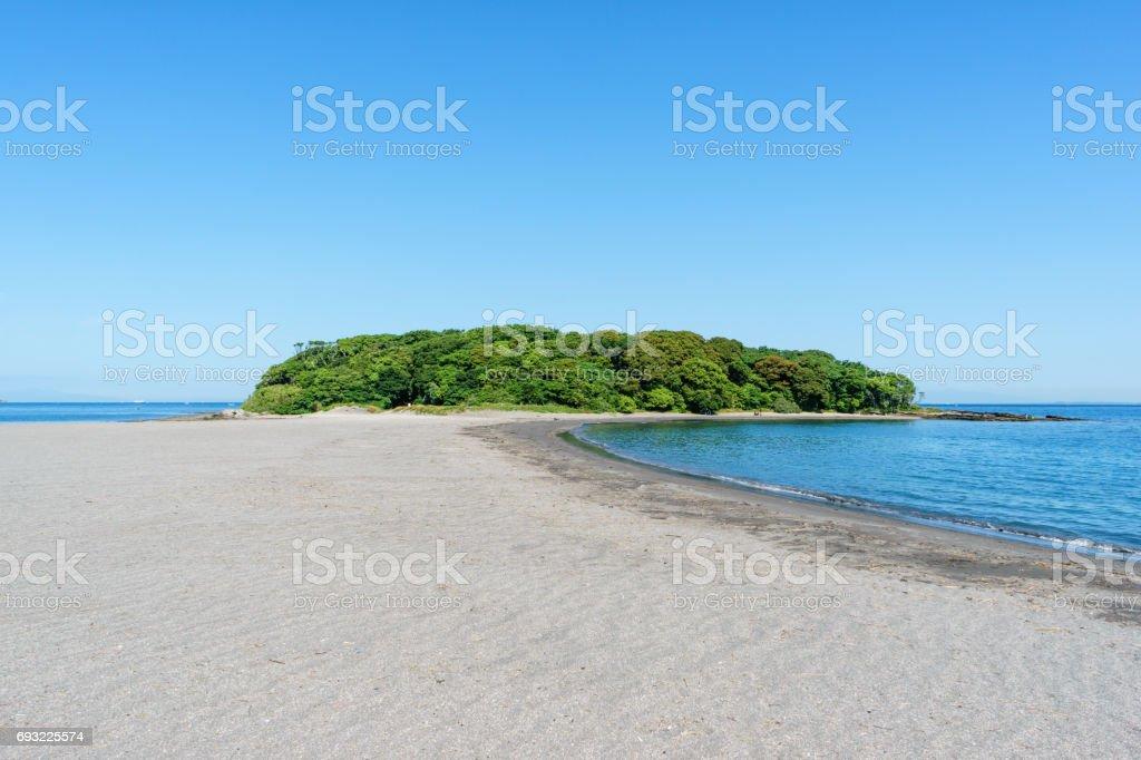 青い空と沖ノ島、千葉県 ストックフォト