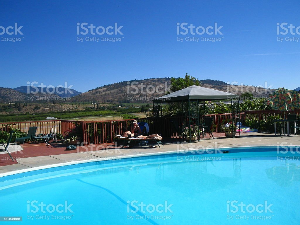 Blue sky and pool royalty-free stock photo