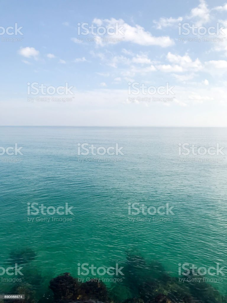 Blue sky and sea in the morning stock photo