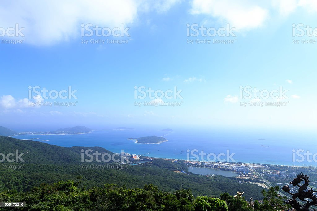 Blue sky and sea with islands in it stock photo