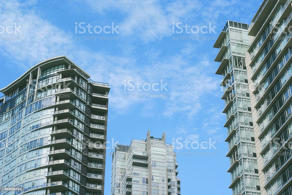 Blue Sky and Skyscrapers stock photo