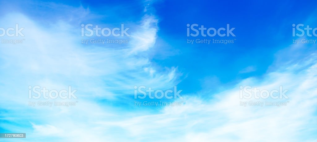 Blue sky and soft white clouds (Panorama) royalty-free stock photo