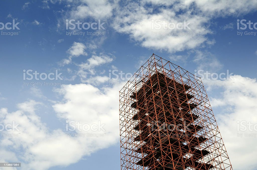 Blue Sky and Steel Scaffolding royalty-free stock photo