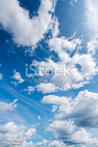 Blue sky and white cirrus clouds